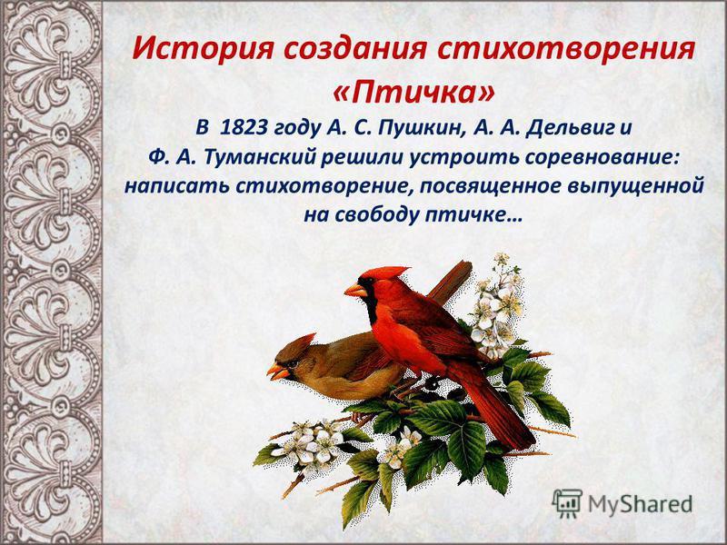 История создания стихотворения «Птичка» В 1823 году А. С. Пушкин, А. А. Дельвиг и Ф. А. Туманский решили устроить соревнование: написать стихотворение, посвященное выпущенной на свободу птичке…