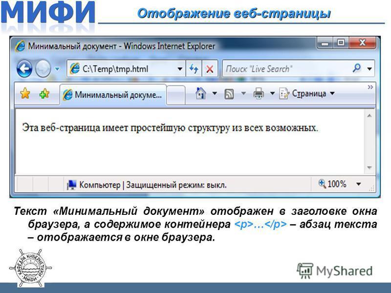 Отображение веб-страницы Текст «Минимальный документ» отображен в заголовке окна браузера, а содержимое контейнера … – абзац текста – отображается в окне браузера.