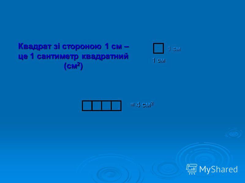 Квадрат зі стороною 1 см – це 1 сантиметр квадратний (см 2 ) 1 см = 4 см 2