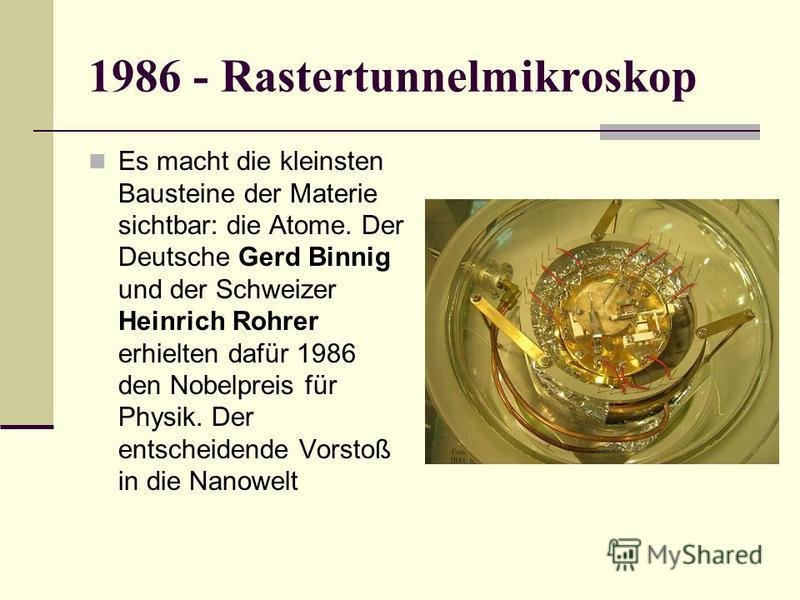 1986 - Rastertunnelmikroskop Es macht die kleinsten Bausteine der Materie sichtbar: die Atome. Der Deutsche Gerd Binnig und der Schweizer Heinrich Rohrer erhielten dafür 1986 den Nobelpreis für Physik. Der entscheidende Vorstoß in die Nanowelt