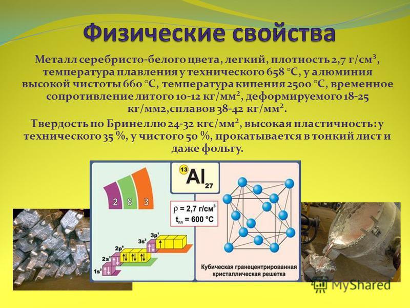 Металл серебристо-белого цвета, легкий, плотность 2,7 г/см³, температура плавления у технического 658 °C, у алюминия высокой чистоты 660 °C, температура кипения 2500 °C, временное сопротивление литого 10-12 кг/мм², деформируемого 18-25 кг/мм 2,сплаво