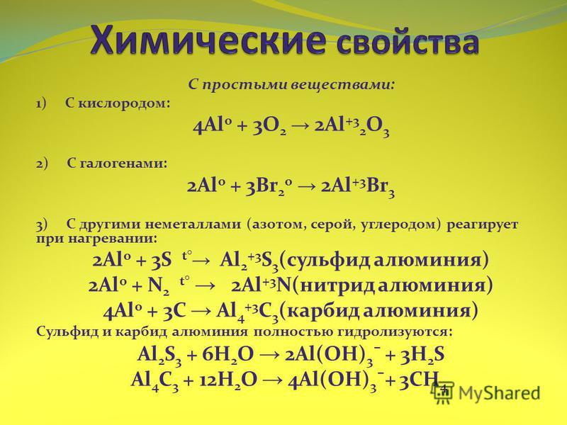 С простыми веществами: 1) С кислородом: 4Al 0 + 3O 2 2Al +3 2 O 3 2) С галогенами: 2Al 0 + 3Br 2 0 2Al +3 Br 3 3) С другими неметаллами (азотом, серой, углеродом) реагирует при нагревании: 2Al 0 + 3S t° Al 2 +3 S 3 (сульфид алюминия) 2Al 0 + N 2 t° 2