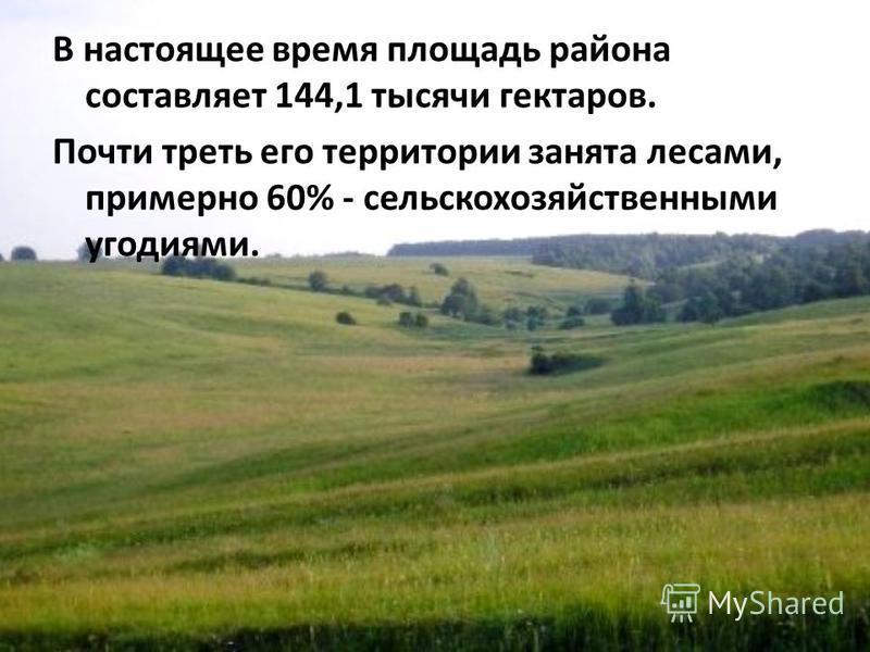 В настоящее время площадь района составляет 144,1 тысячи гектаров. Почти треть его территории занята лесами, примерно 60% - сельскохозяйственными угодьями.