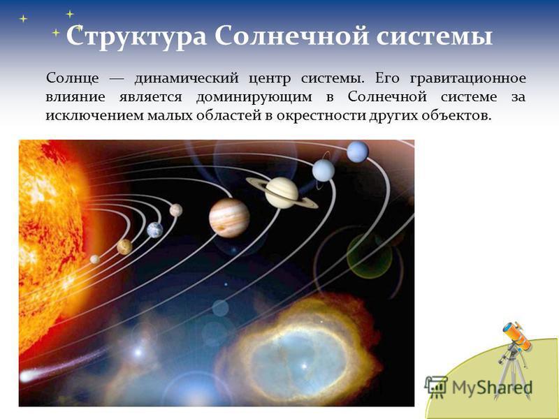 Структура Солнечной системы Солнце динамический центр системы. Его гравитационное влияние является доминирующим в Солнечной системе за исключением малых областей в окрестности других объектов.