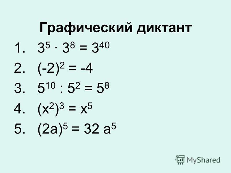 Графический диктант 1. 3 5 · 3 8 = 3 40 2. (-2) 2 = -4 3. 5 10 : 5 2 = 5 8 4. (х 2 ) 3 = х 5 5. (2 а) 5 = 32 а 5