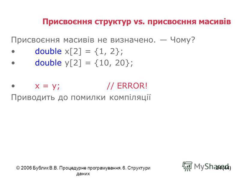 © 2006 Бублик В.В. Процедурне програмування. 6. Структури даних 24 (44) Присвоєння структур vs. присвоєння масивів Присвоєння масивів не визначено. Чому? double x[2] = {1, 2}; double y[2] = {10, 20}; x = y;// ERROR! Приводить до помилки компіляції