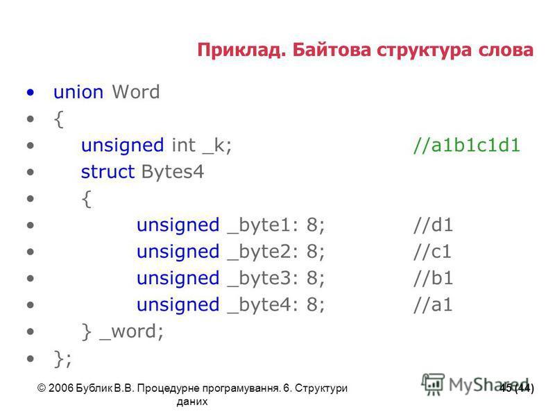 © 2006 Бублик В.В. Процедурне програмування. 6. Структури даних 45 (44) Приклад. Байтова структура слова union Word { unsigned int _k;//a1b1c1d1 struct Bytes4 { unsigned _byte1: 8;//d1 unsigned _byte2: 8;//c1 unsigned _byte3: 8;//b1 unsigned _byte4: