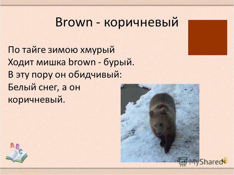 Brown - коричневый По тайге зимою хмурый Ходит мишка brown - бурый. В эту пору он обидчивый: Белый снег, а он коричневый.