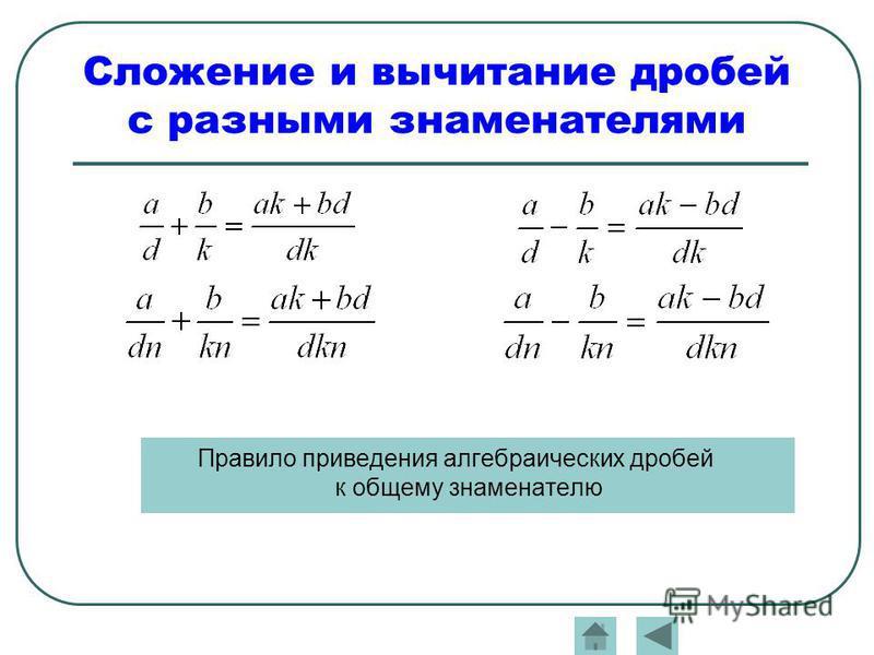 Сложение и вычитание дробей с разными знаменателями Правило приведения алгебраических дробей к общему знаменателю