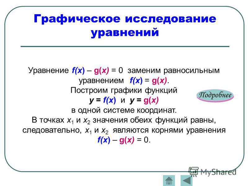 Графическое исследование уравнений Подробнее Уравнение f(x) – g(x) = 0 заменим равносильным уравнением f(x) = g(x). Построим графики функций y = f(x) и y = g(x) в одной системе координат. В точках х 1 и х 2 значения обеих функций равны, следовательно