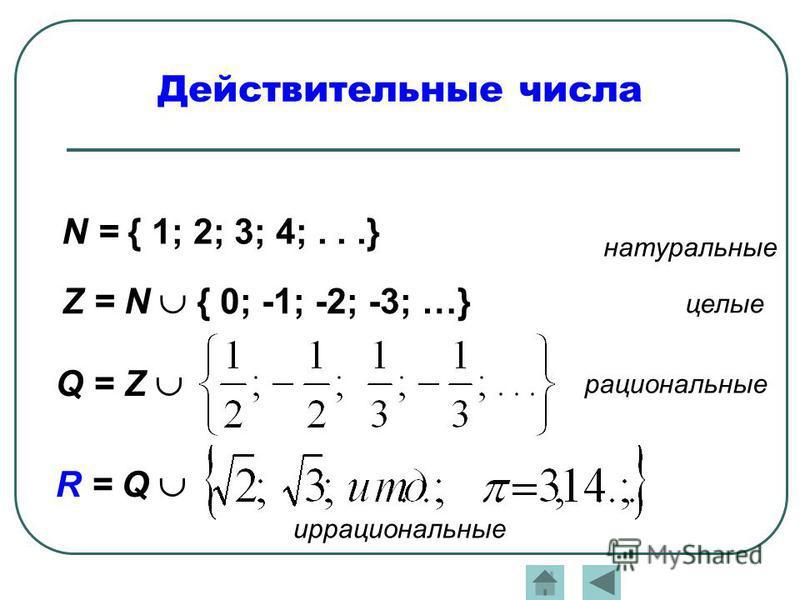 Действительные числа N = { 1; 2; 3; 4;...} Z = N { 0; -1; -2; -3; …} Q = Z R = Q натуральные целые рациональные иррациональные