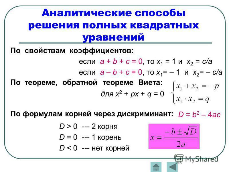Аналитические способы решения полных квадратных уравнений По свойствам коэффициентов: если а + b + с = 0, то х 1 = 1 и х 2 = с/а если а – b + с = 0, то х 1 = – 1 и х 2 = – с/а По теореме, обратной теореме Виета: для х 2 + рх + q = 0 По формулам корне