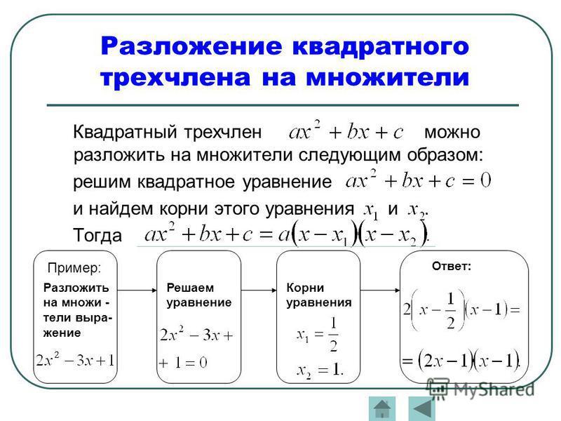Разложение квадратного трехчлена на множители Квадратный трехчлен можно разложить на множители следующим образом: решим квадратное уравнение и найдем корни этого уравнения и. Тогда Пример: Разложить на множители выражение Решаем уравнение Ответ: Корн
