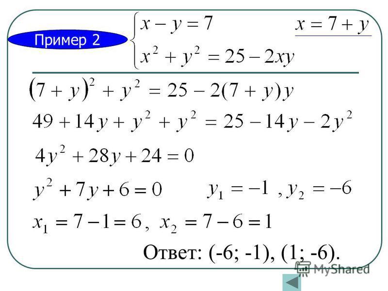 Пример 2 Ответ: (-6; -1), (1; -6).