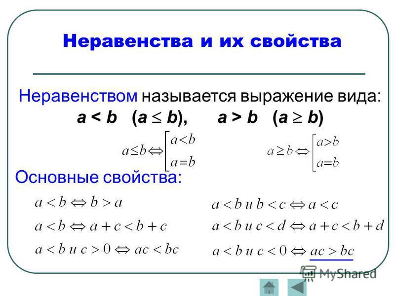 Неравенства и их свойства Неравенством называется выражение вида: a b (a b) Основные свойства: