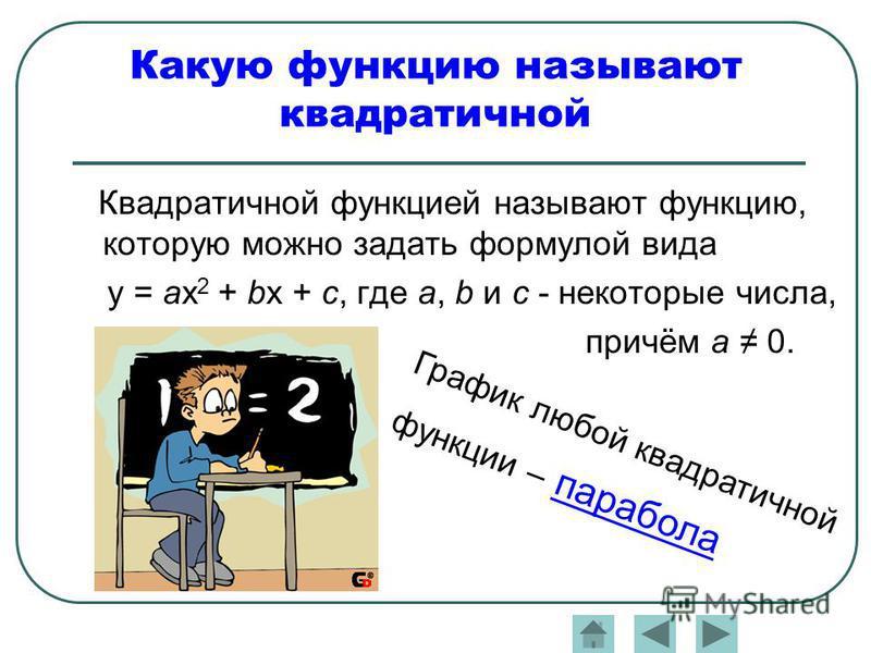 Какую функцию называют квадратичной Квадратичной функцией называют функцию, которую можно задать формулой вида y = ax 2 + bx + c, где a, b и с - некоторые числа, причём а 0. График любой квадратичной функции – парабола
