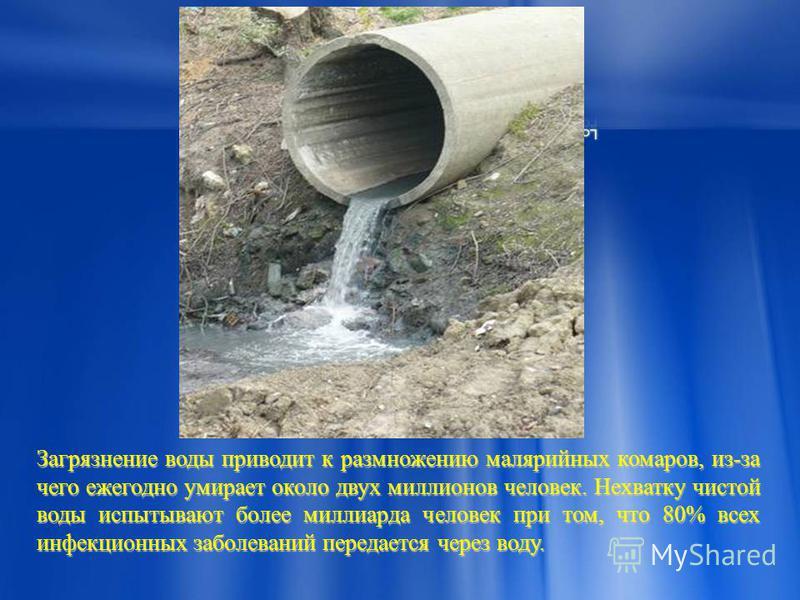 Загрязнение воды приводит к размножению малярийных комаров, из-за чего ежегодно умирает около двух миллионов человек. Нехватку чистой воды испытывают более миллиарда человек при том, что 80% всех инфекционных заболеваний передается через воду.