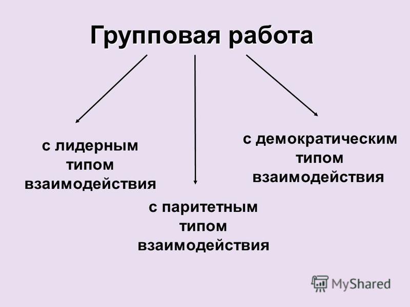 Групповая работа с лидерным типом взаимодействия с паритетным типом взаимодействия с демократическим типом взаимодействия