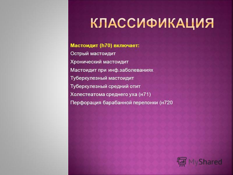 Мастоидит (h70) включает: Острый мастоидит Хронический мастоидит Мастоидит при инф.заболеваниях Туберкулезный мастоидит Туберкулезный средний отит Холестеатома среднего уха (н 71) Перфорация барабанной перепонки (н 720