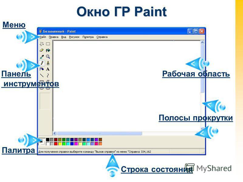 Окно ГР Paint Меню Панель инструментов Палитра Строка состояния Полосы прокрутки Рабочая область