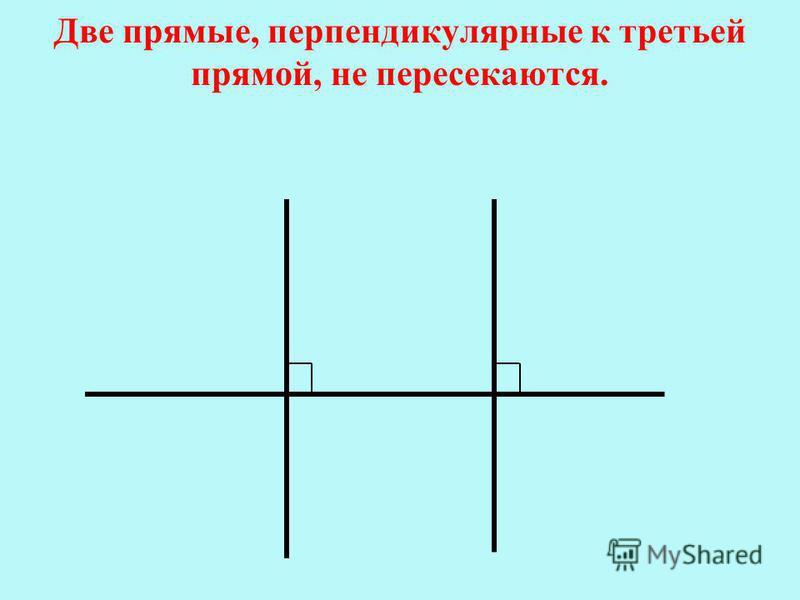 Две прямые, перпендикулярные к третьей прямой, не пересекаются.