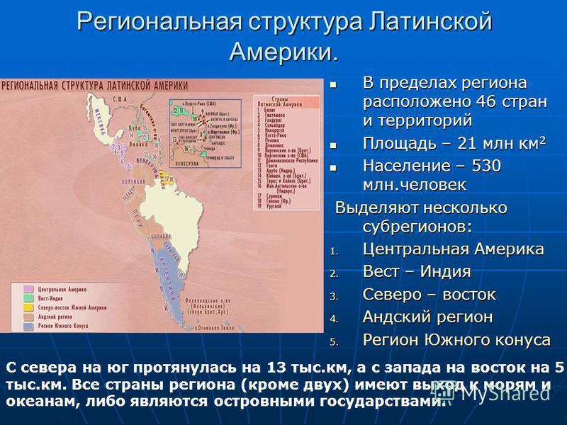 Региональная структура Латинской Америки. В пределах региона расположено 46 стран и территорий В пределах региона расположено 46 стран и территорий Площадь – 21 млн км 2 Площадь – 21 млн км 2 Население – 530 млн.человек Население – 530 млн.человек Вы