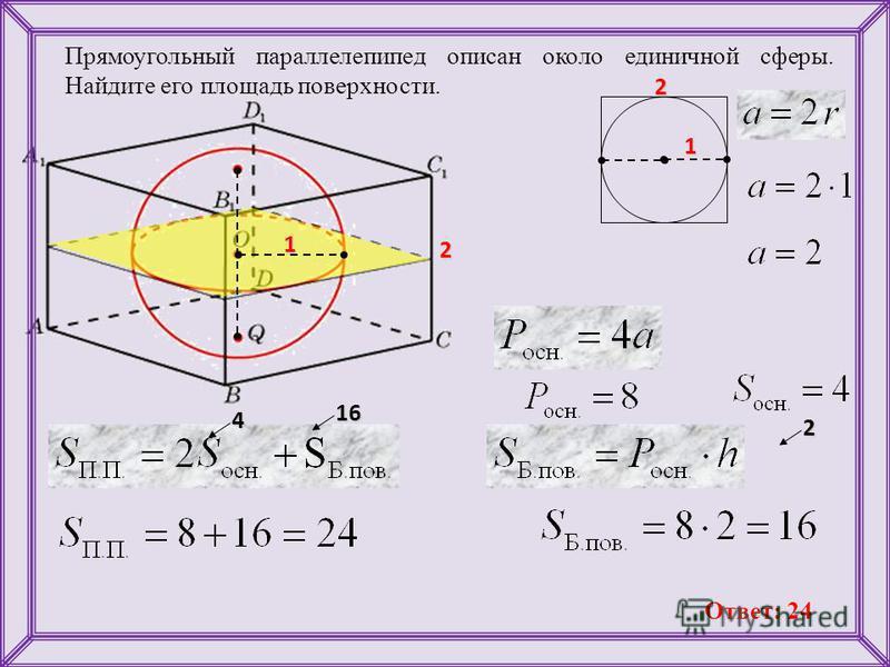 Прямоугольный параллелепипед описан около единичной сферы. Найдите его площадь поверхности. 1 1 16 4 2 2 2 Ответ: 24