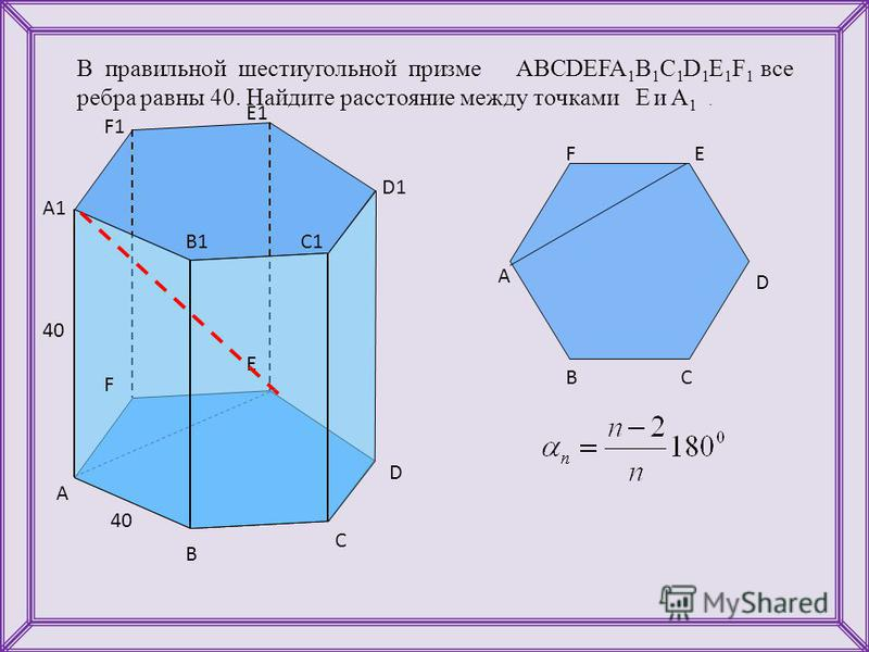 В правильной шестиугольной призме ABCDEFA 1 B 1 C 1 D 1 E 1 F 1 все ребра равны 40. Найдите расстояние между точками E и A 1. A B C D E F A1 B1C1 D1 E1 F1 40 A BC D EF