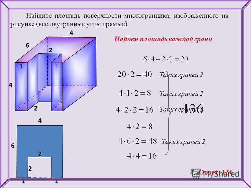 Найдите площадь поверхности многогранника, изображенного на рисунке (все двугранные углы прямые). 4 4 6 2 4 Найдем площадь каждой грани 112 2 241 6 1 2 Таких граней 2 Таких граней 2. Таких граней 2 Ответ: 136