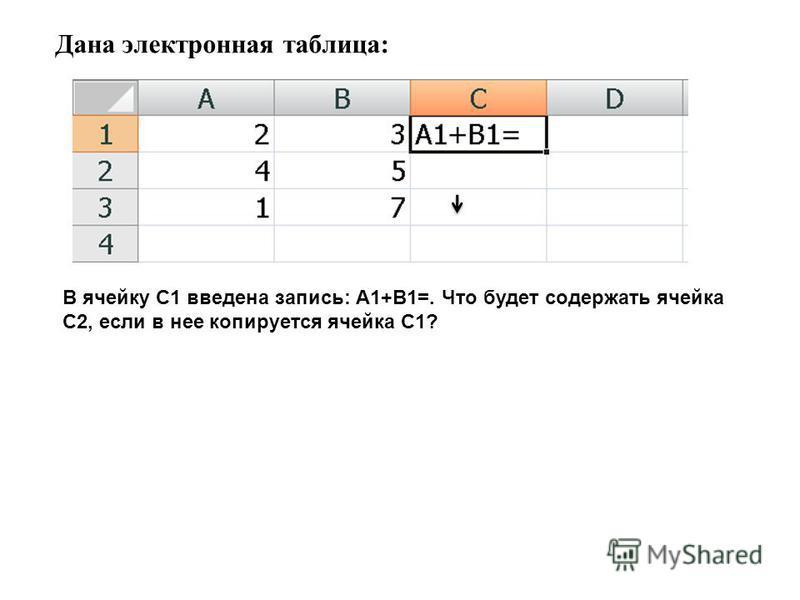 Дана электронная таблица: В ячейку С1 введена запись: А1+В1=. Что будет содержать ячейка С2, если в нее копируется ячейка С1?