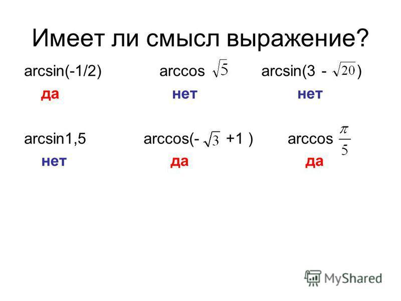 Имеет ли смысл выражение? arcsin(-1/2) arccos arcsin(3 - ) да нет нет arcsin1,5 arccos(- +1 ) arccos нет да да