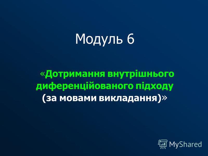 Модуль 6 «Дотримання внутрішнього диференційованого підходу (за мовами викладання) »