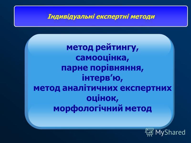 метод рейтингу, самооцінка, парне порівняння, інтервю, метод аналітичних експертних оцінок, морфологічний метод Індивідуальні експертні методи