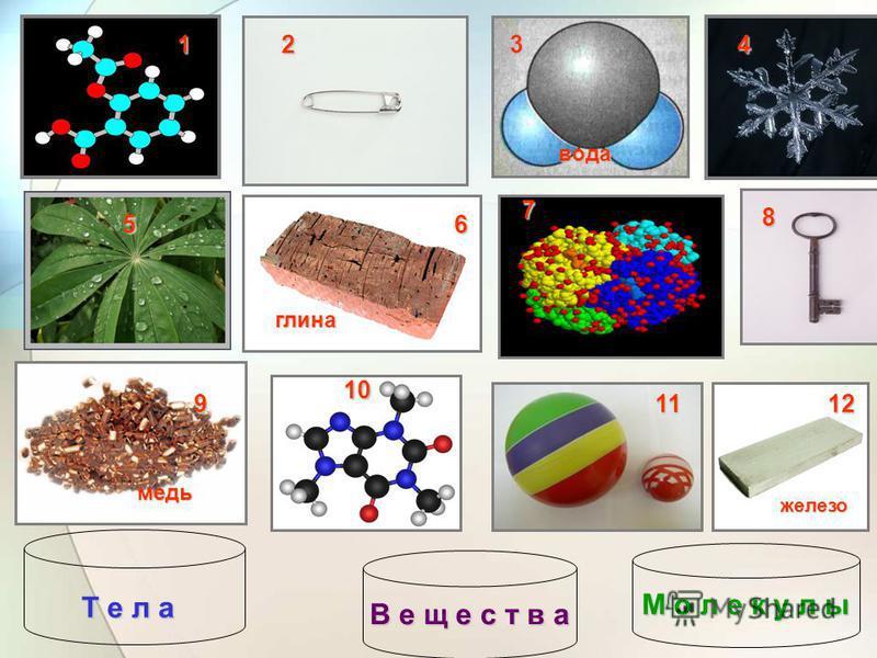Разделите на 3 группы Тело Вещество Молекула 124 56 8 9 10 1112 глина железо медь вода 3 7