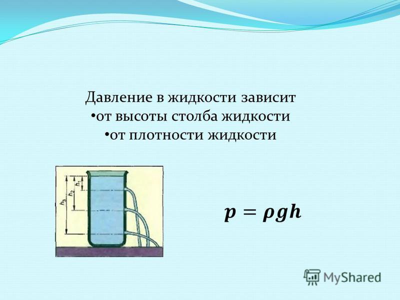 Давление в жидкости зависит от высоты столба жидкости от плотности жидкости