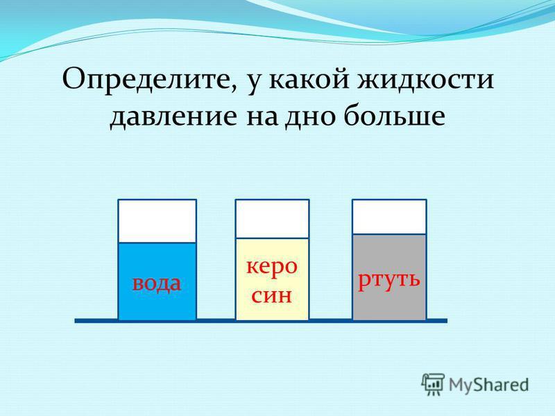 Определите, у какой жидкости давление на дно больше ртуть керосин вода