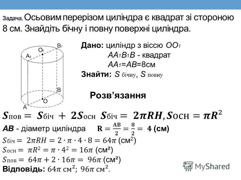 Задача. Осьовим перерізом циліндра є квадрат зі стороною 8 см. Знайдіть бічну і повну поверхні циліндра. Дано: циліндр з віссю ОО 1 АА 1 В 1 В - квадрат АА 1 =АВ=8см Знайти: S бічну, S повну