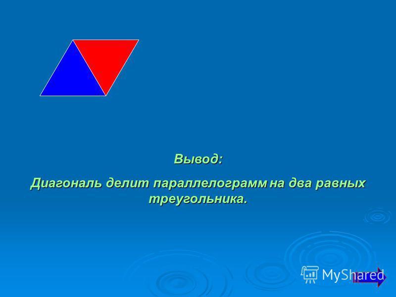 Вывод: Диагональ делит параллелограмм на два равных треугольника.
