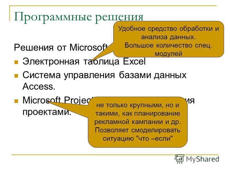 Программные решения Решения от Microsoft Электронная таблица Excel Система управления базами данных Access. Microsoft Project – система управления проектами. не только крупными, но и такими, как планирование рекламной кампании и др. Позволяет смодели