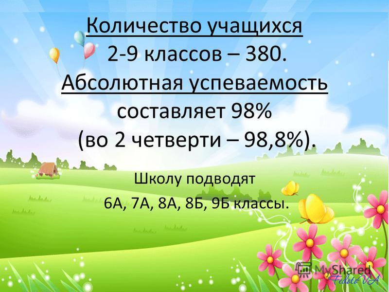 Количество учащихся 2-9 классов – 380. Абсолютная успеваемость составляет 98% (во 2 четверти – 98,8%). Школу подводят 6А, 7А, 8А, 8Б, 9Б классы.