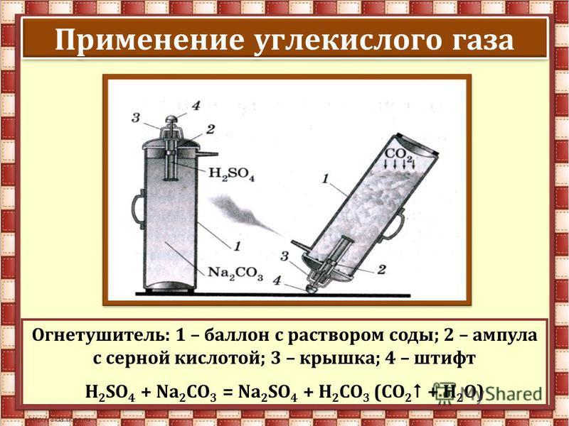 Применение углекислого газа Огнетушитель: 1 – баллон с раствором соды; 2 – ампула с серной кислотой; 3 – крышка; 4 – штифт H 2 SO 4 + Na 2 CO 3 = Na 2 SO 4 + H 2 CO 3 (СО 2 + Н 2 О)