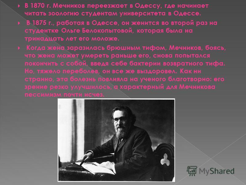 В 1870 г. Мечников переезжает в Одессу, где начинает читать зоологию студентам университета в Одессе. В 1875 г., работая в Одессе, он женится во второй раз на студентке Ольге Белокопытовой, которая была на тринадцать лет его моложе. Когда жена зарази