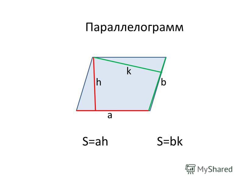 Параллелограмм a h S=ah k b S=bk