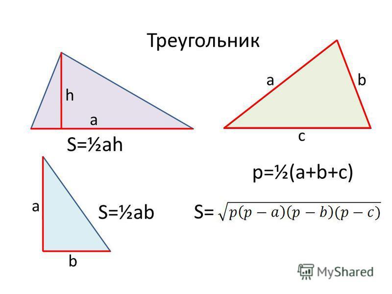 Треугольник a h S=½ah a b S=½ab ab c p=½(a+b+c) S=