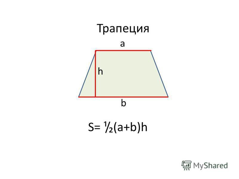 Трапеция а b h S= ¹/(a+b)h