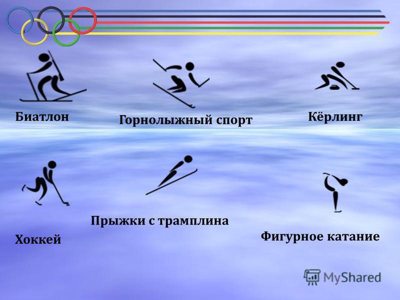 Биатлон Горнолыжный спорт Кёрлинг Хоккей Фигурное катание Прыжки с трамплина