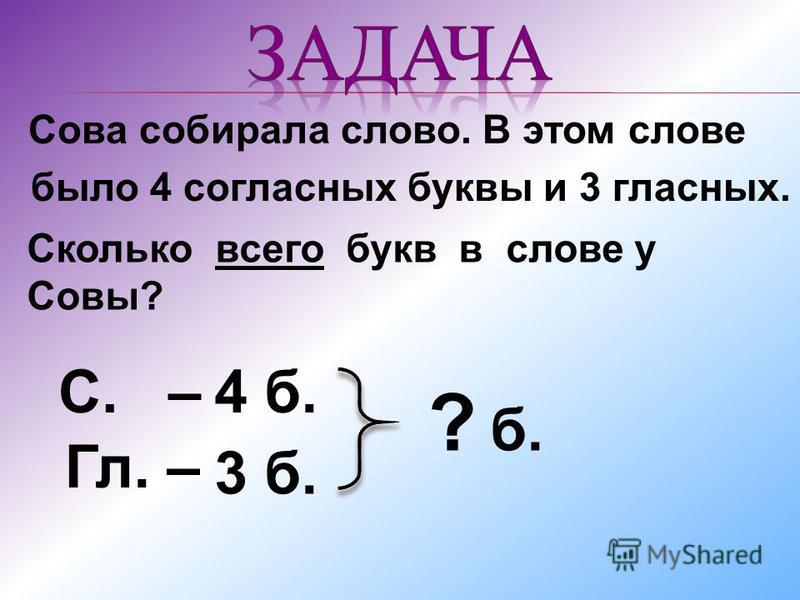 Сова собирала слово. В этом слове было 4 согласных буквы и 3 гласных. Сколько всего букв в слове у Совы? С. – Гл. – ? б. 4 б. 3 б.