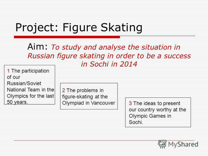 Project: Figure Skating Aim: To study and analyse the situation in Russian figure skating in order to be a success in Sochi in 2014 1 The participation of our Russian/Soviet National Team in the Olympics for the last 50 years. 2 The problems in figur