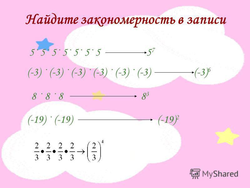 Найдите закономерность в записи 5· 5· 5· 5· 5· 5· 5 5 7 (-3) · (-3) · (-3) · (-3) · (-3) · (-3) (-3) 6 8 · 8 · 8 8 3 (-19) · (-19) (-19) 2