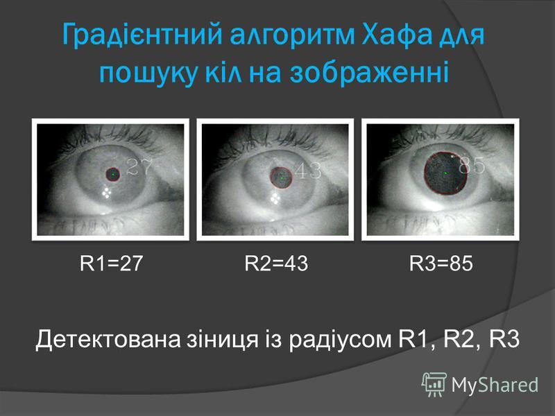 Градієнтний алгоритм Хафа для пошуку кіл на зображенні R1=27R2=43R3=85 Детектована зіниця із радіусом R1, R2, R3